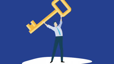 Graphic of person holding up a giant key